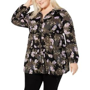 Style & Co. Black Floral Top